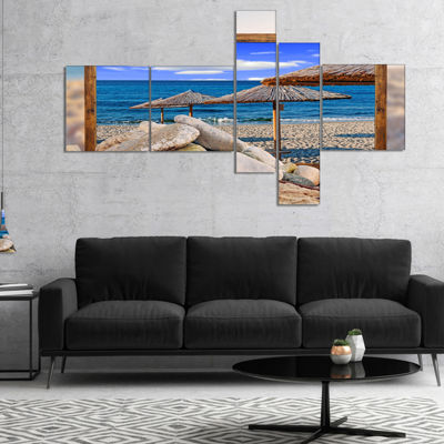 Designart Framed Effect Beach Umbrellas MultipanelSeashore Canvas Art Print - 4 Panels