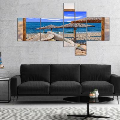 Designart Framed Effect Beach Umbrellas MultipanelSeashore Canvas Art Print - 5 Panels