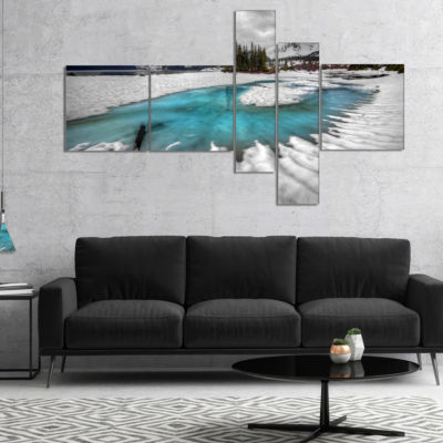 Designart Frosted Crystal Clear Lake Multipanel Landscape Canvas Art Print - 5 Panels