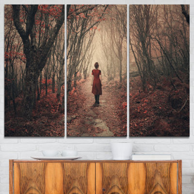 Designart Woman In Frosty Forest Landscape Photography Canvas Print - 3 Panels