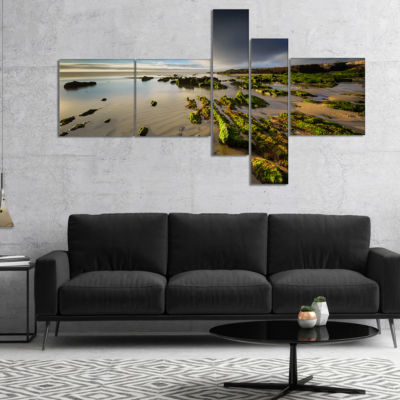 Designart Furnas Virgin Beach Galicia Spain Multipanel Seashore Canvas Art Print - 5 Panels