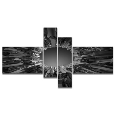 Designart Futuristic Black Background Multipanel Abstract Canvas Art Print - 4 Panels