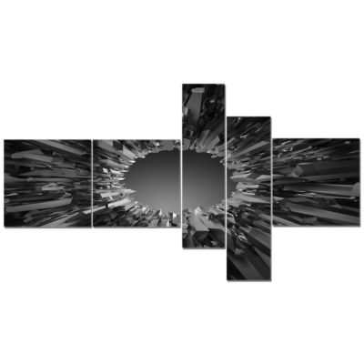 Designart Futuristic Black Background Multipanel Abstract Canvas Art Print - 5 Panels