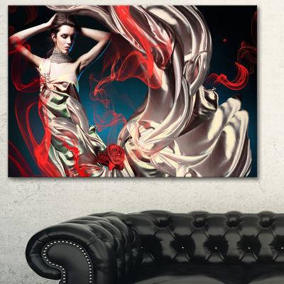 Designart Woman In Long Fairy Dress Abstract Portrait Canvas Print - 3 Panels