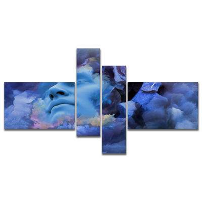 Designart Game Of Dream Woman Sleeping MultipanelAbstract Canvas Wall Art Print - 4 Panels
