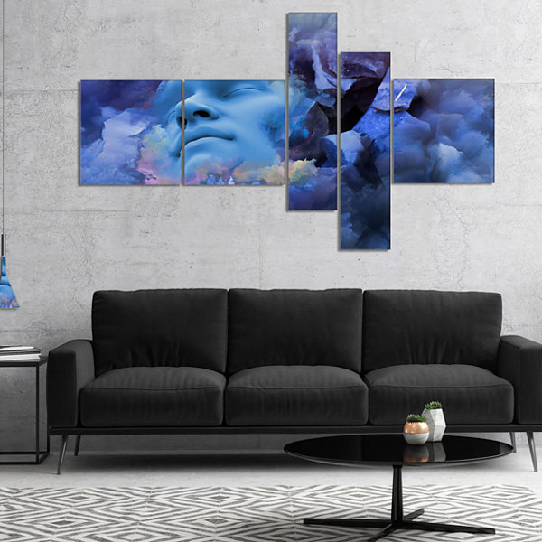 Designart Game Of Dream Woman Sleeping MultipanelAbstract Canvas Wall Art Print - 5 Panels