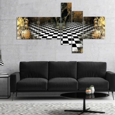 Designart Geometric Composition Wide View Multipanel Abstract Canvas Art Print - 4 Panels
