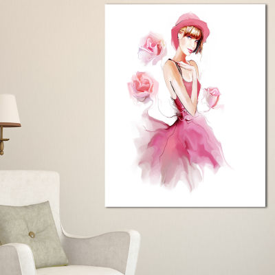Designart Woman In Pink Dress And Hat Digital ArtPortrait Canvas Print - 3 Panels