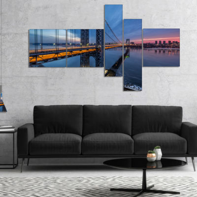 Designart George Washington Bridge Multipanel Cityscape Art Print On Canvas - 5 Panels