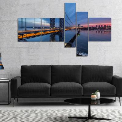 Designart George Washington Bridge Multipanel Large Cityscape Art Print On Canvas - 4 Panels