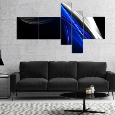 Designart Glittering Blue Pattern Multipanel Abstract Canvas Art Print - 5 Panels