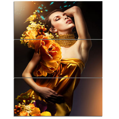 Designart Woman In Yellow Dress Digital Art Portrait Canvas Print - 3 Panels