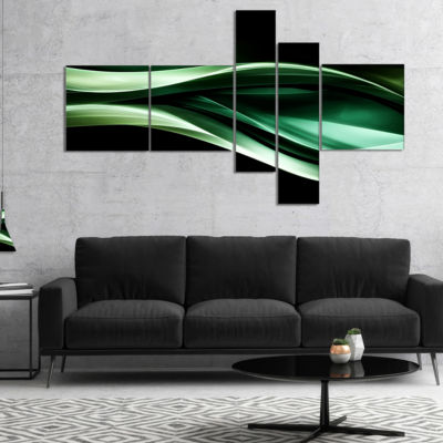 Designart Glittering Green Pattern Multipanel Abstract Canvas Art Print - 4 Panels