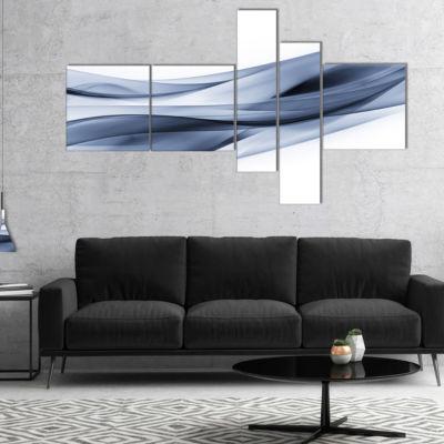 Designart Glittering Light Blue Pattern MultipanelAbstract Canvas Art Print - 5 Panels