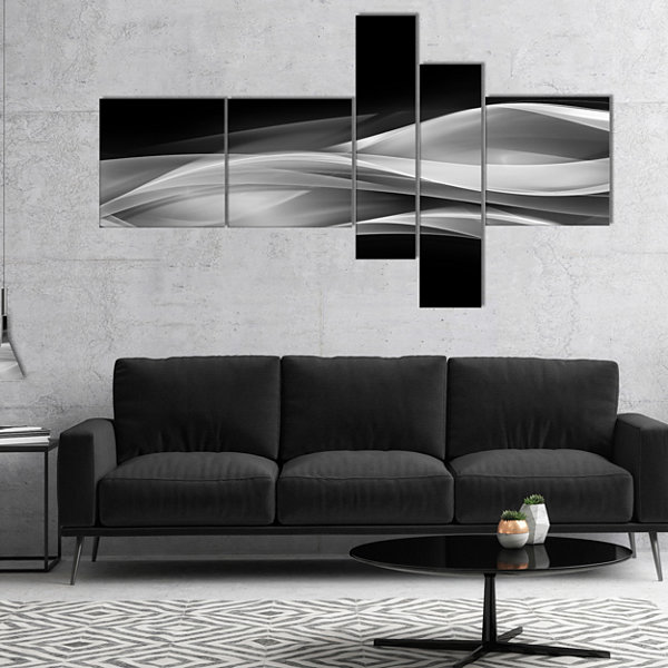 Designart Glittering Silver Pattern Multipanel Abstract Canvas Art Print - 4 Panels