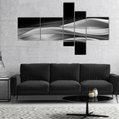 Designart Glittering Silver Pattern Multipanel Abstract Canvas Art Print - 5 Panels