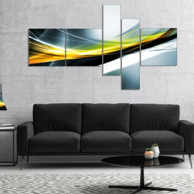Designart Glittering Yellow Pattern Multipanel Abstract Canvas Art Print - 5 Panels