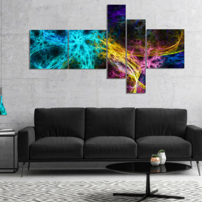 Designart Glowing Abstract Fireworks Multipanel Abstract Canvas Art Print - 4 Panels
