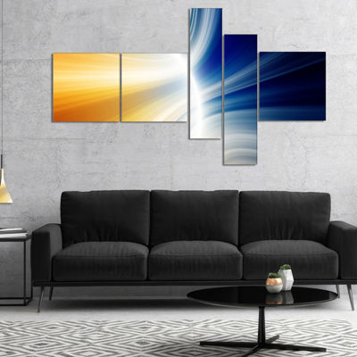 Designart Glowing Abstract Lines Multipanel Abstract Canvas Art Print - 5 Panels