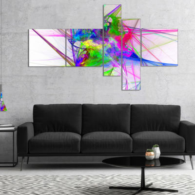 Designart Glowing Ball Of Smoke Multipanel Abstract Canvas Art Print - 5 Panels