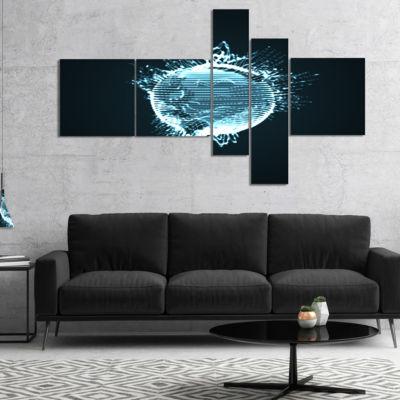 Designart Glowing Blue 3D Sphere Multipanel Abstract Canvas Art Print - 5 Panels