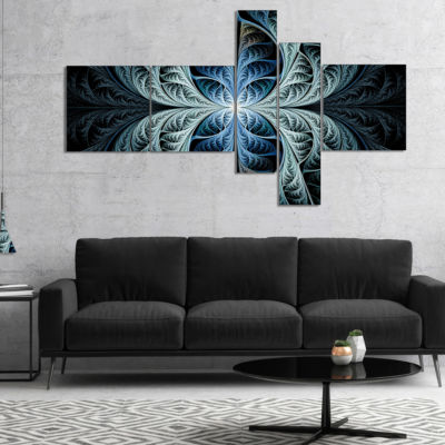 Designart Glowing Blue Fabulous Fractal Art Multipanel Abstract Canvas Art Print - 4 Panels