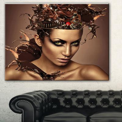 Designart Woman With Chocolate In Head Portrait Canvas Art Print - 3 Panels