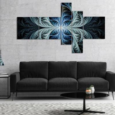 Designart Glowing Blue Fabulous Fractal Art Multipanel Abstract Canvas Art Print - 5 Panels