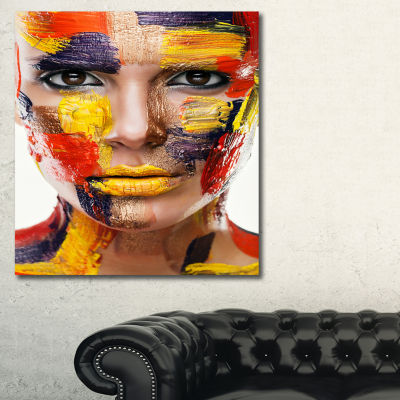 Designart Woman With Colorful Face Contemporary Canvas Art Print
