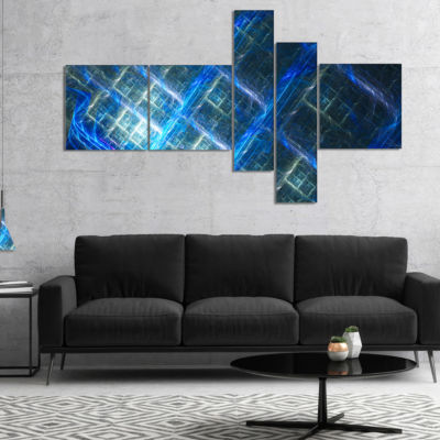 Designart Glowing Blue Fractal Grill Multipanel Abstract Art On Canvas - 4 Panels