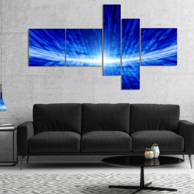 Designart Glowing Blue Lines Multipanel Abstract Canvas Art Print - 5 Panels