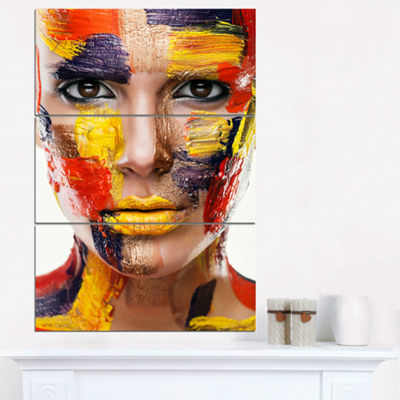 Designart Woman With Colorful Face Contemporary Canvas Art Print - 3 Panels