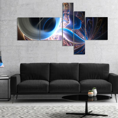 Designart Glowing Blue Silver Plasma Multipanel Abstract Wall Art Canvas - 5 Panels