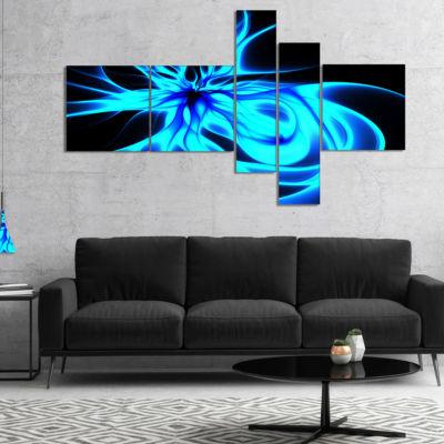 Designart Glowing Blue Symmetrical Flower Multipanel Abstract Canvas Art Print - 5 Panels