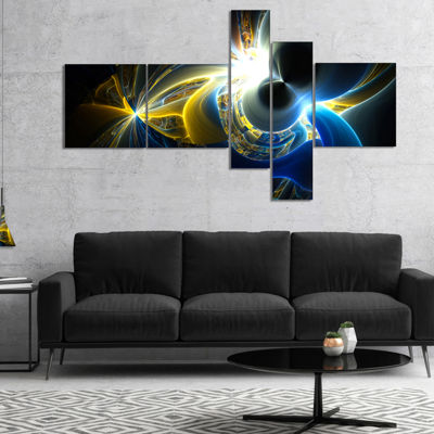 Designart Glowing Blue Yellow Plasma Multipanel Abstract Wall Art Canvas - 4 Panels