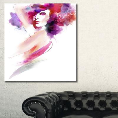 Designart Woman With Colors Portrait Canvas Art Print - 3 Panels