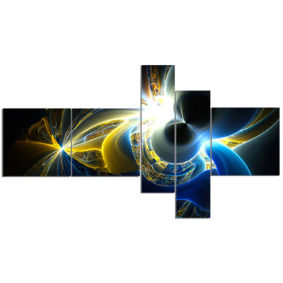 Designart Glowing Blue Yellow Plasma Multipanel Abstract Wall Art Canvas - 5 Panels