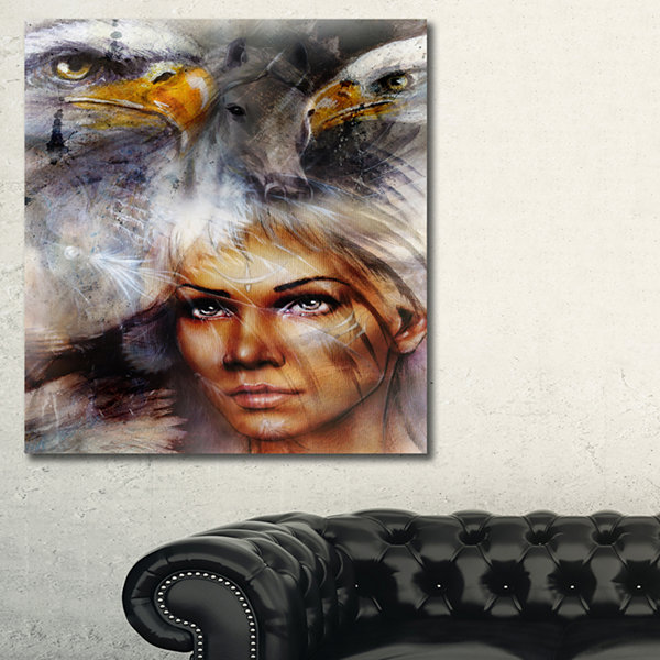 Designart Woman With Flying Eagles Portrait CanvasArt Print