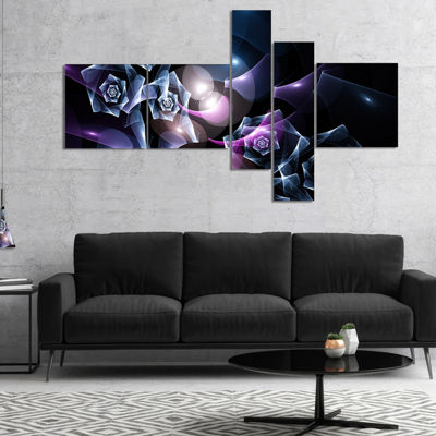 Designart Glowing Bouquet Of Beautiful Roses Multipanel Abstract Canvas Art Print - 4 Panels