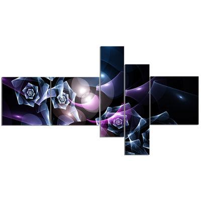 Designart Glowing Bouquet Of Beautiful Roses Multipanel Abstract Canvas Art Print - 5 Panels