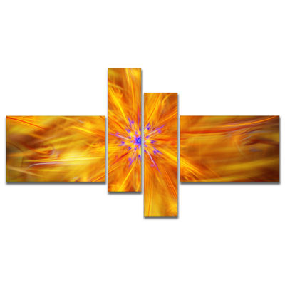 Designart Glowing Brightest Star Exotic Flower Multipanel Abstract Canvas Art Print - 4 Panels
