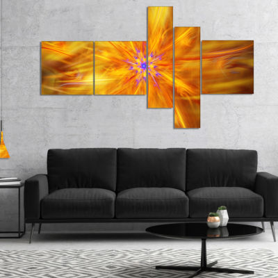 Designart Glowing Brightest Star Exotic Flower Multipanel Abstract Canvas Art Print - 5 Panels