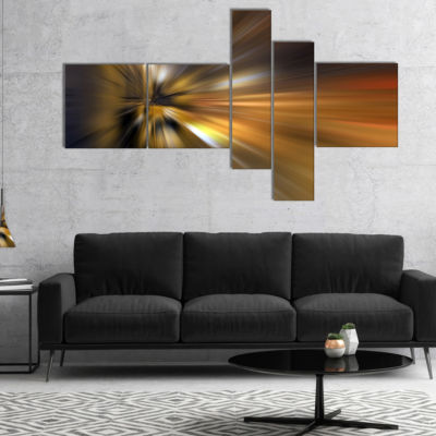 Designart Glowing Brown Focus Light Multipanel Large Abstract Art - 5 Panels