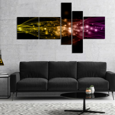 Designart Glowing Circles And Lines Multipanel Abstract Canvas Art Print - 4 Panels