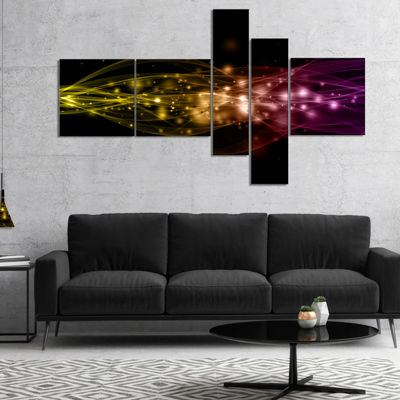 Designart Glowing Circles And Lines Multipanel Abstract Canvas Art Print - 5 Panels