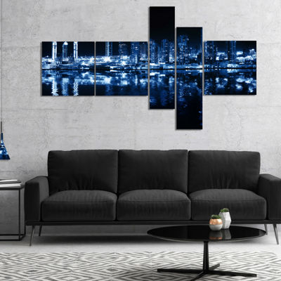 Designart Glowing City At Midnight Multipanel Cityscape Photo Canvas Print - 5 Panels