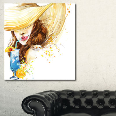 Designart Woman With Fruit Cocktail Abstract Canvas Print