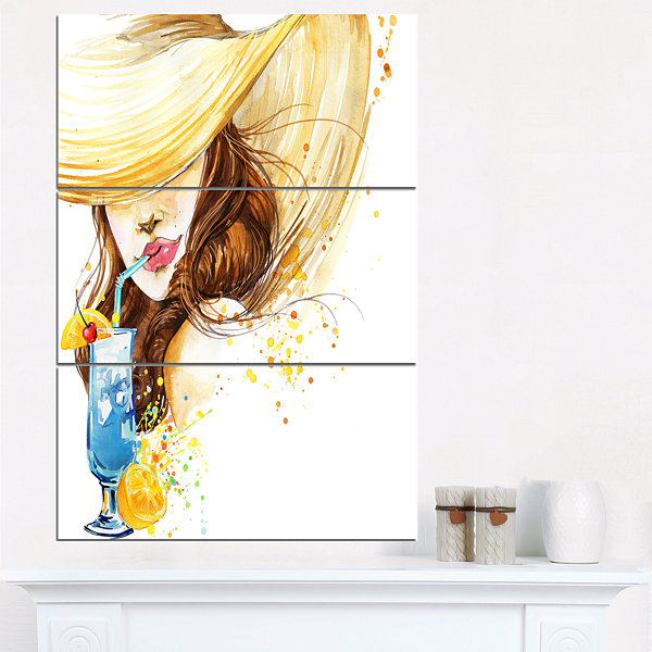 Designart Woman With Fruit Cocktail Abstract Canvas Print - 3 Panels