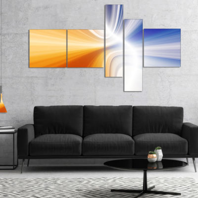 Designart Glowing Colored Lines Multipanel Abstract Canvas Art Print - 5 Panels