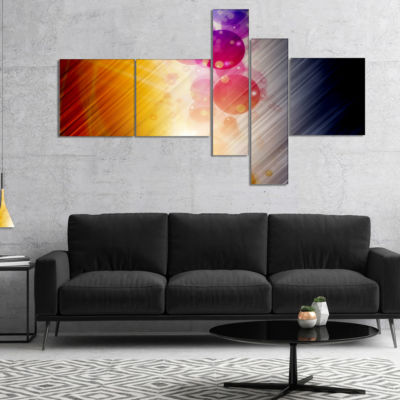 Designart Glowing Colored Spheres Multipanel Abstract Canvas Art Print - 5 Panels
